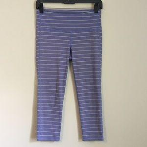 Athleta purple grey striped capri leggings
